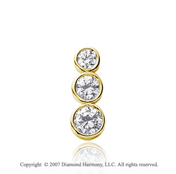 1 Carat Round Bezel 14k Yellow Gold 3 Stone Diamond Pendant