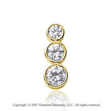1 1/2 Carat Round Bezel 14k Yellow Gold 3 Stone Diamond Pendant