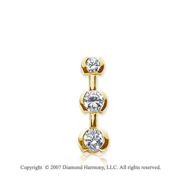 1/4 Carat Half Bezel 14k Yellow Gold 3 Stone Diamond Pendant