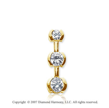 1/2 Carat Half Bezel 14k Yellow Gold 3 Stone Diamond Pendant
