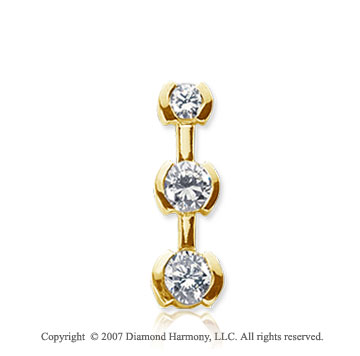 3/4 Carat Half Bezel 14k Yellow Gold 3 Stone Diamond Pendant