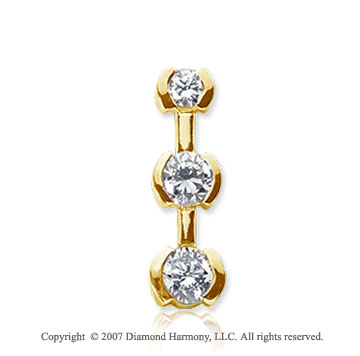 1 Carat Half Bezel 14k Yellow Gold 3 Stone Diamond Pendant