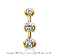 1 1/2 Carat Half Bezel 14k Yellow Gold 3 Stone Diamond Pendant