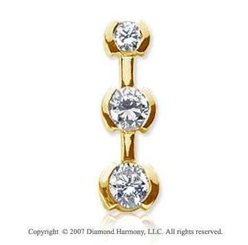 2 Carat Half Bezel 14k Yellow Gold 3 Stone Diamond Pendant