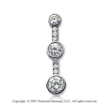 1 1/2 Carat Bezel Channel 14k White Gold 3 Stone Diamond Pendant