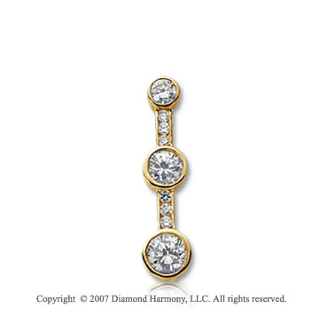 1/2 Carat Bezel Channel 14k Yellow Gold 3 Stone Diamond Pendant