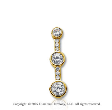 3/4 Carat Bezel Channel 14k Yellow Gold 3 Stone Diamond Pendant