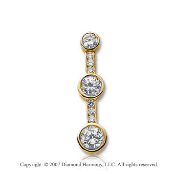1 Carat Bezel Channel 14k Yellow Gold 3 Stone Diamond Pendant