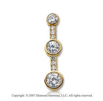 1 1/2 Carat Bezel Channel 14k Yellow Gold 3 Stone Diamond Pendant