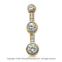 2 Carat Bezel Channel 14k Yellow Gold 3 Stone Diamond Pendant