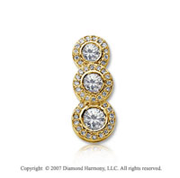 3/4 Carat Pave Rim 14k Yellow Gold 3 Stone Diamond Pendant