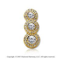 1 Carat Pave Rim 14k Yellow Gold 3 Stone Diamond Pendant