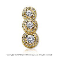 1 1/2 Carat Pave Rim 14k Yellow Gold 3 Stone Diamond Pendant