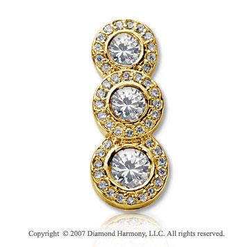 2 Carat Pave Rim 14k Yellow Gold 3 Stone Diamond Pendant