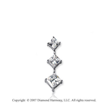 1/3 Carat Princess Stem 14k White Gold 3 Stone Diamond Pendant