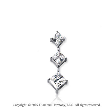 1/2 Carat Princess Stem 14k White Gold 3 Stone Diamond Pendant