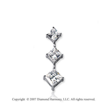 3/4 Carat Princess Stem 14k White Gold 3 Stone Diamond Pendant