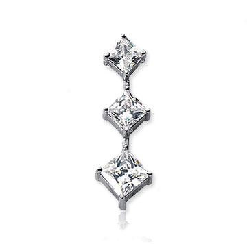 1 1/2 Carat Princess Stem 14k White Gold 3 Stone Diamond Pendant