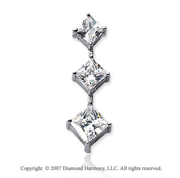 2 Carat Princess Stem 14k White Gold 3 Stone Diamond Pendant