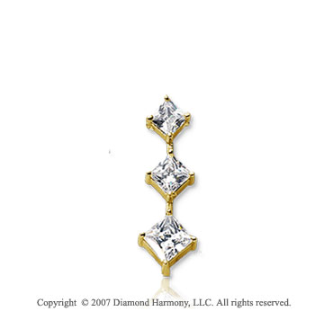 1/2 Carat Princess Stem 14k Yellow Gold 3 Stone Diamond Pendant
