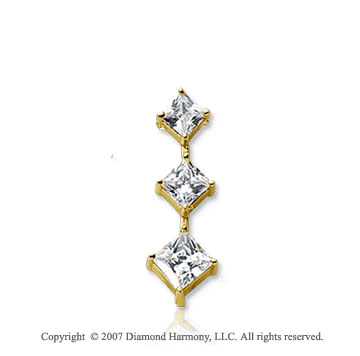 3/4 Princess Stem 14k Yellow Gold 3 Stone Diamond Pendant