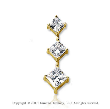 1 1/2 Carat Princess Stem 14k Yellow Gold 3 Stone Diamond Pendant