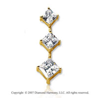 2 Carat Princess Stem 14k Yellow Gold 3 Stone Diamond Pendant