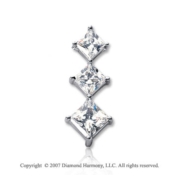 1 1/2 Carat Princess Row 14k White Gold 3 Stone Diamond Pendant