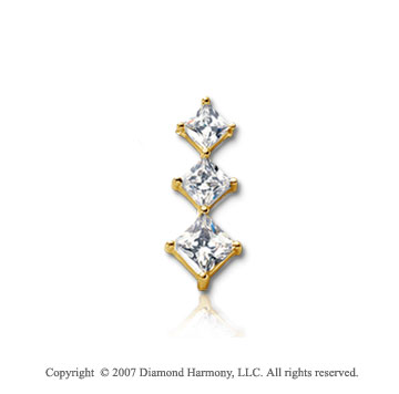 1/3 Carat Princess Row 14k Yellow Gold 3 Stone Diamond Pendant