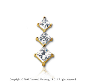 1 Carat Princess Row 14k Yellow Gold 3 Stone Diamond Pendant