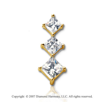 1 1/2 Carat Princess Row 14k Yellow Gold 3 Stone Diamond Pendant