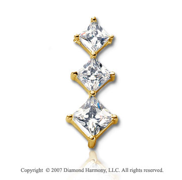 2 Carat Yellow Gold Princess Prong 2 1/4 Carat Diamond Pendant