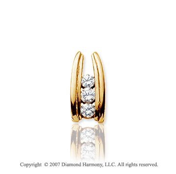 1/2 Carat Round Ladder 14k Yellow Gold 3 Stone Diamond Pendant