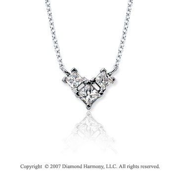 1/3 Carat Princess Wing 14k White Gold 3 Stone Diamond Pendant