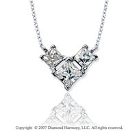 1 Carat Princess Wing 14k White Gold 3 Stone Diamond Pendant