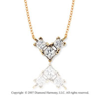 1/2 Carat Princess Wing 14k Yellow Gold 3 Stone Diamond Pendant