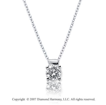 1/5 Carat Diamond Four Prong 14k White Gold Solitaire Pendant