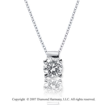 1/2 Carat Diamond Four Prong 14k White Gold Solitaire Pendant