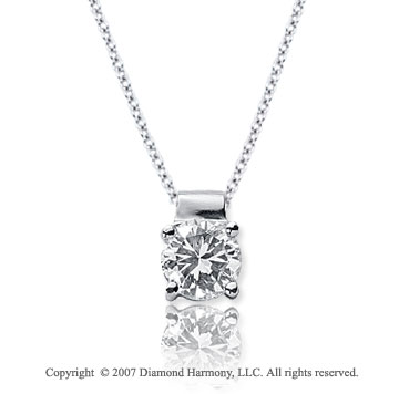 3/4 Carat Diamond Four Prong 14k White Gold Solitaire Pendant