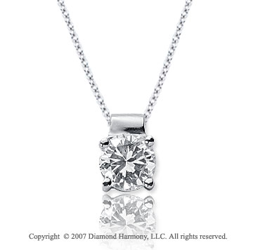 1 Carat Diamond Four Prong 14k White Gold Solitaire Pendant