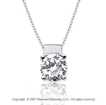 1 1/2 Carat Diamond Four Prong 14k White Gold Solitaire Pendant
