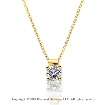 1/5 Carat Diamond Four Prong 14k Yellow Gold Solitaire Pendant