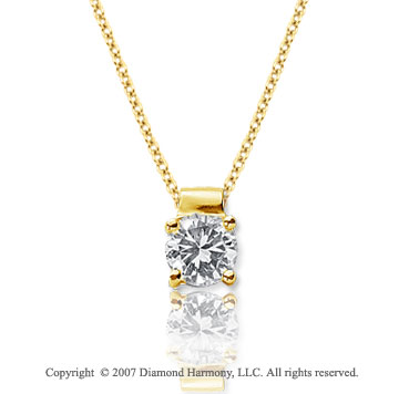 1/3 Carat Diamond Four Prong 14k Yellow Gold Solitaire Pendant