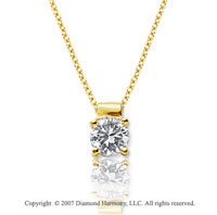 1/2 Carat Diamond Four Prong 14k Yellow Gold Solitaire Pendant