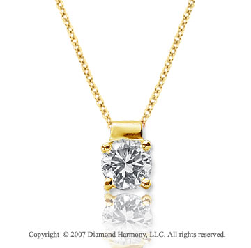 3/4 Carat Diamond Four Prong 14k Yellow Gold Solitaire Pendant