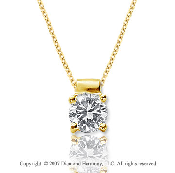 1 Carat Diamond Four Prong 14k Yellow Gold Solitaire Pendant
