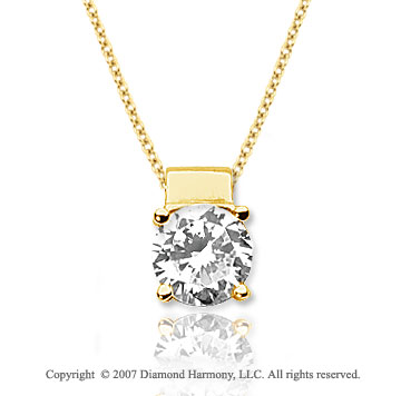 1 1/2 Carat Diamond Four Prong 14k Yellow Gold Solitaire Pendant