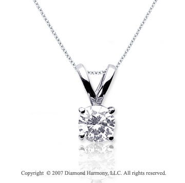 1/3 Carat Diamond Twin Bail 14k White Gold Solitaire Pendant