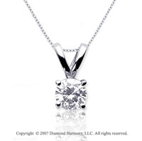 1/2 Carat Diamond Twin Bail 14k White Gold Solitaire Pendant