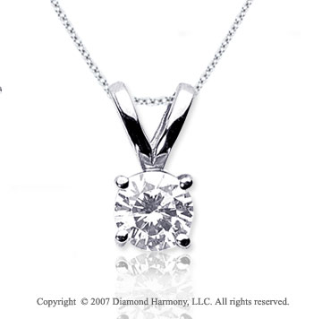3/4 Carat Diamond Twin Bail 14k White Gold Solitaire Pendant
